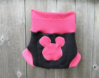 Upcycled Wool Soaker Cover Diaper Cover With Added Doubler Pink / Black With Minnie Mouse Applique MEDIUM 6-12M