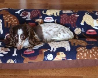 Dog Bed, MEDIUM BUNBED Dogs on Navy Fleece, Dachshund Dog Bed, Burrow Bed, Hot Dog Bed, Bun Bed, Blue Dog Bed