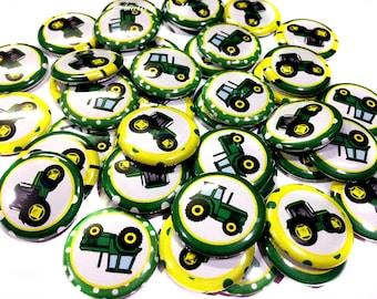 "Tractors, 1"" Buttons, Tractors, Tractor Buttons, Tractor Pins, Tractor Flatbacks, Tractor Pinbacks, Tractor Party, Tractor Party Favor, Pins"