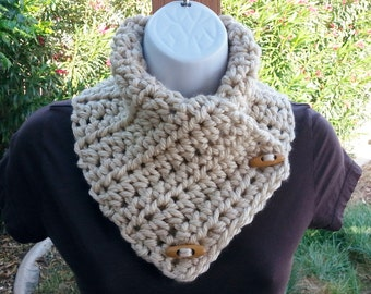 NECK WARMER SCARF Light Solid Tan Beige Buttoned Cowl with Toggle Wood Buttons, Soft Acrylic Handmade Crochet Knit..Ready to Ship in 2 Days