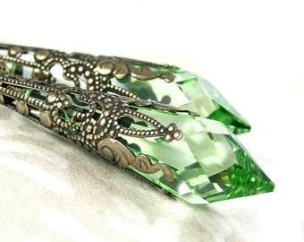 Peridot Green Earrings Light Green Swarovski Crystal Earrings Antique Gold Brass Peridot Earrings Long Drop Earrings Victorian Jewelry