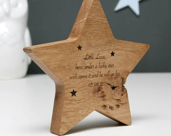 Solid Oak Star | Christening Gift | New Baby Gift | Naming Day | Worldwide Shipping | Gifts for the Bride | Gifts under 15 | Laser Machine