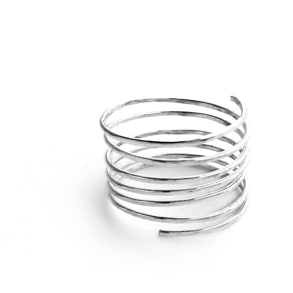 Wrapped Ring - Silver Spiral Ring, Stacking Ring, Thumb Ring, US size 8, UK size P 1/2