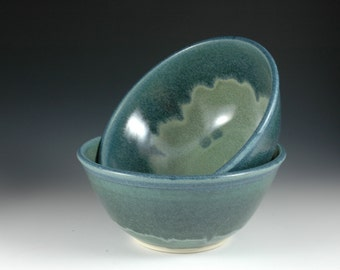 24oz Blue Green Soup bowl, Serving bowl Stoneware Pottery by Douglas Bechler, Cereal Bowl