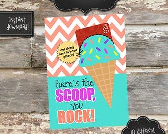 ICECREAM Gift Card Holder - 5x7 - Teacher/Nurse/Other Appreciation - Instantly Downloadable Digital File - You Print