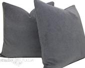 Gray Velvet Pillow Covers - 20 inch - Set of TWO - lavender gray - cotton velvet - gray pillow - decorative pillow - ready to ship