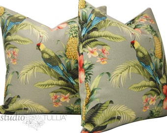 Outdoor Pillow Covers - Beach Bounty - Set of TWO - Tropical - Parrot - Outdoor - 20X20 - ready to ship