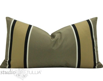 Striped Silk Pillow Cover - Manuel Canovas - Masculine Pillow- brown and black - decorative pillow cover - ready to ship