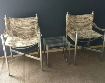 Pace Sling Chair Cowhide/  70s Chrome Chairs/ Sold Separately
