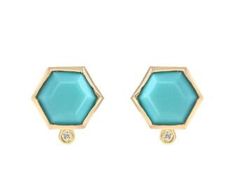 Turquoise Earrings, Turquoise Diamond Earrings, Hexagon Studs, Turquoise Studs, Turquoise Gold Diamond Studs, December Birthstone, Nixin