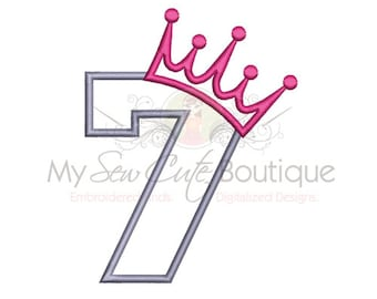 7th Birthday Applique - Machine Embroidery Applique Design - 6 Sizes - Instant Download