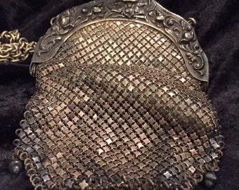 x Mesh Purse Reticule Antique 1901 German Silver Clasp Victorian Bag (FF0816-38LL)