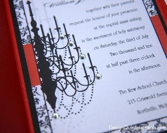 Rhinestone Chandelier in Black Glitter w. Red Pocketfold Wedding Invitation