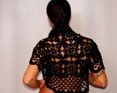 Black Bolero, Lace Shrug, Crochet Shrug, Bolero, Lace Bolero, Wedding Bridal Shrug Bolero, Evening Shrug, Bamboo Cotton, Summer Shrug, S-M-L
