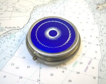 1960s Pill Box - Etched Blue & Silvertone Metal Round