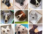 Handmade Felt Dog Brooch pin or Keyring christmas gift
