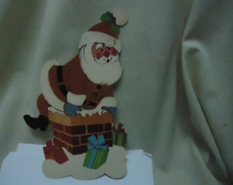 Vintage Santa Claus Climbing Down Chimney Cardboard Cut Out, Christmas, Holiday, collectable