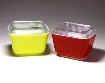 Vintage Pyrex Storage Bowls in Red and Yellow with Glass Tops - circa 1950's