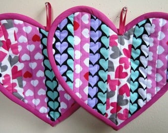 Heart Pot Holders Valentines Day Hot Pads Patchwork Quilted Set of Two – 11.5 x 9 Inches