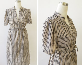 1970s Vintage Striped Dress, Marty Gutmacher Shirtdress, Day Dress M L