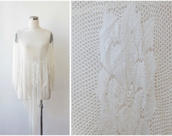 White Crochet Shawl, Wedding Shawl, Net Poncho Shawl, Swim Suit Cover Up, Ivory Shawl, Boho Cape, Evening Top, Summer Shawl