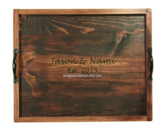 Wedding Guest Book Alternative, Rustic Guest Book Wood Sign In, Unique Guest Book, Serving Tray Ottoman Tray Rustic Wedding Tray
