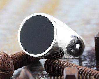 Silver Signet Ring Man Custom Engraved Circle Rings