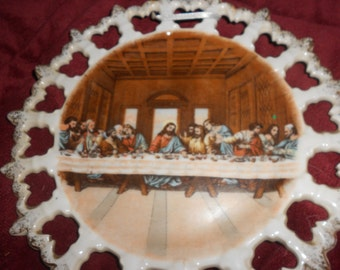 Last Supper Plate Decorative Lefton Porcelain Plate -Ribbon Style Hanging Hand Painted With Cut Out Detail- Vintage Japanese Marked