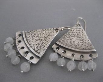 Boho Chic Triangle Earrings with Rainbow Moonstone