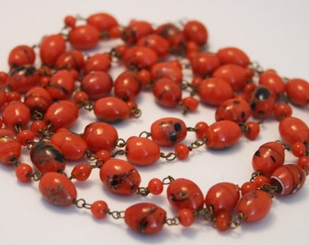 Vintage End of Day necklace. Coral coloured glass beads.   Multi color glass beads.  Flapper necklace