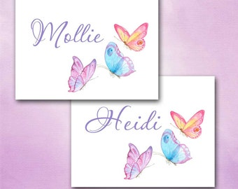 Watercolor Butterfly Note Cards, French Papillon, Custom Personalized, Pastel Pink, Blue, Lavender Butterflies, Blank Inside, Set of Ten