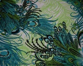 1 yard Peacock Feathers Jersey Knit Fabric stretch poly Lycra material feather peacock birds dark green lime green light teal stretchy boho
