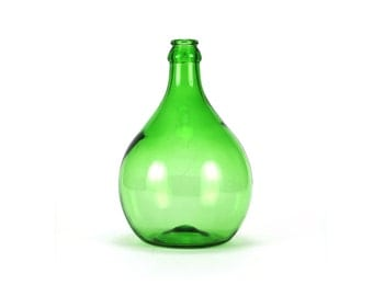 vintage large green glass wine jug