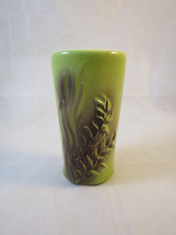 Vintage Pottery Vase Lime Green & Brown Seaweed Royal Copley 7.5 inches Ht. Mid Century Modern Green Brown Pottery Vase 1950's