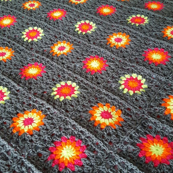 SALE 30% OFF Granny Squares Blanket Retro Afghan Ready to SHIP