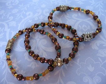 Autumn Leaves Set of 3 Beaded Stretch Bracelets