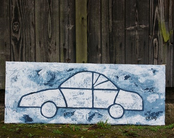 Car painting in blue - rough painting with palette knife - original
