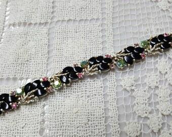 Art Deco Navettes and Rhinestones   Bracelet  Colorful