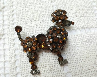 Juliana  Rhinestone  Poodle brooch Fantastic Colors