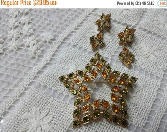 CIJ 60% SAVINGS Coventry Canada Star  brooch and Clip earrings Sarah Coventry
