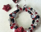 Gothic Rose Memory Wire Bracelet - RESERVED FOR AMBER