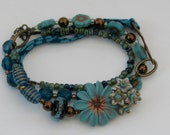 Turquoise, Teal and Copper Triple Wrap Bracelet - floral ribbon daisy glass