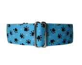 Paw Print Martingale Collar, Paw Print Dog Collar, Turquoise Martingale Collar, Turquoise Dog Collar, 1.5 Inch Martingale, Whippet Collar