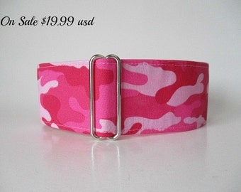 Pink Martingale Dog Collar, 2 inch Martingale Collar, Camo Martingale, Greyhound Collar, Pink Dog Collar, Camo Dog Collar