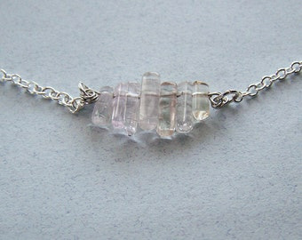 Pale Pink Tourmaline Gemstone Crystal Necklace