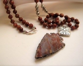 Jasper Arrowhead Necklace / Goldstone Beaded Necklace / Hand Knotted Natural Stone Pendant