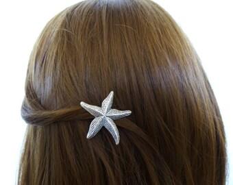 Silver Starfish Hair Clip Mermaid Accessories Ariel Barrette Beachy Nautical Ocean Sea Star Destination Beach Weddings Womens Gift Summer
