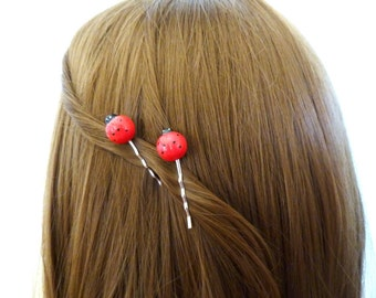 Ladybug Hair Pins Lady Bug Clips Red Insect Bobby Ladybird Beetle Nature Lover Garden Woodland Girls Accessories Womens Gift For Her Spring