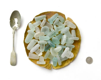 CAPTAIN'S SEAFOOD PLATTER - 30 Sea Glass Stoppers - Sea Metal Plate & Spoon - Scottish Beach Find Rarities
