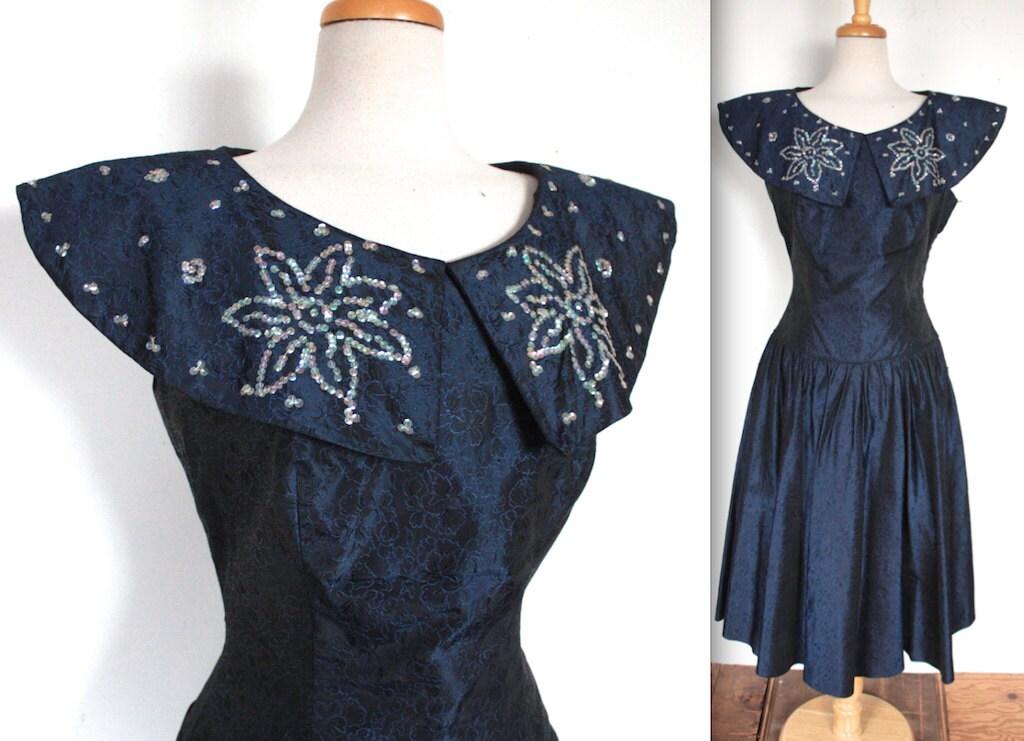 Vintage s dress  navy blue embroidered taffeta